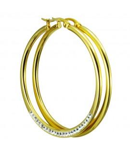 Edelstahlschmuck Creolen mit Steinen  Durchmesser: ca. 45mm Farbe: goldfarben Ohrschmuck 25,99€