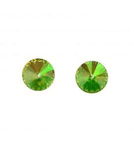 Paar Ohrstecker Modeschmuck mit Swarovski Elements Steinfarbe luminus green 8mm Messing rhodiniert Ohrschmuck 7,99€