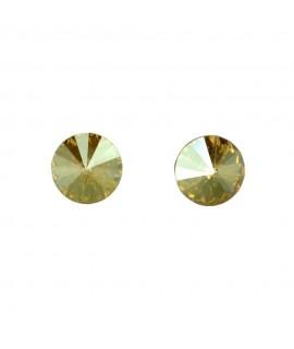Paar Ohrstecker Modeschmuck mit Swarovski Elements Steinfarbe golden shadow 8mm Messing rhodiniert Ohrschmuck 7,99€