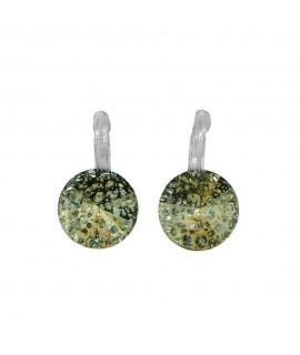 Paar Ohrringe Modeschmuck mit Swarovski Elements Steinfarbe patina rose 14 mm Messing rhodiniert Klappbrisur als Verschluss O...