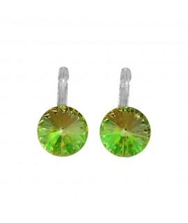 Paar Ohrringe Modeschmuck mit Swarovski Elements Steinfarbe luminus green 14 mm Messing rhodiniert Klappbrisur als Verschlu O...