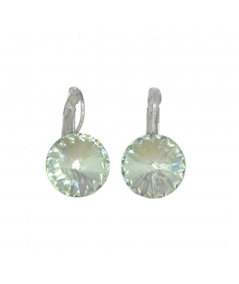 Paar Ohrringe Modeschmuck mit Swarovski Elements Steinfarbe kristall 14 mm Messing rhodiniert Klappbrisur als Verschluss Ohrs...