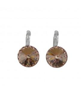 Paar Ohrringe Modeschmuck mit Swarovski Elements Steinfarbe vintage rose 14 mm Messing rhodiniert Klappbrisur als Verschluss ...