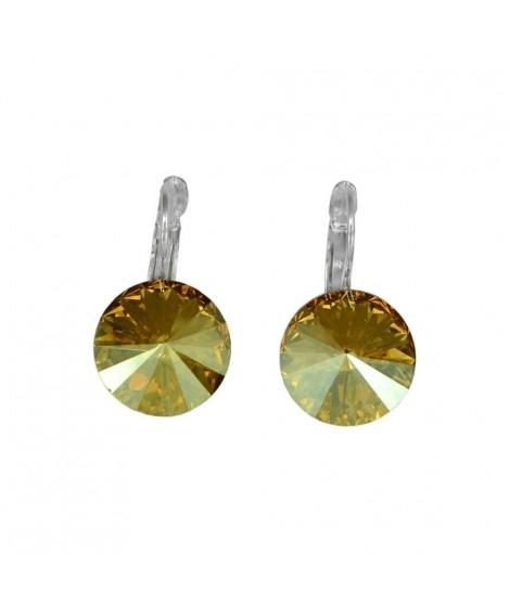 Paar Ohrringe Modeschmuck mit Swarovski Elements Steinfarbe golden shadow 14 mm Messing rhodiniert Klappbrisur als Verschluss...