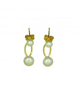 Paar Ohrstecker 925 /- echter Silberschmuck vergoldet, Perle vorn/hinten, 2-teilig Perlen ca. 6mm und ca. 4 mm Ohrschmuck 29,...