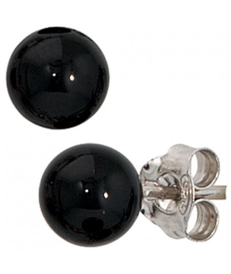 Paar Ohrstecker, 925/- echter Silberschmuck, rhodiniert, 2 Onyxe, ca. 6 mm Ø (ca. 0,9 g) Ohrschmuck 10,99€