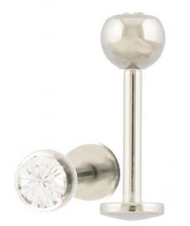 Labret Titan KRISTALL – 1,2 mm (4 mm Kugel) kristallklar Piercing 4,99€