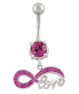 Bauchnabelpiercing mit Brass-Design UNENDLICHKEIT + LOVE Pink Messing - versilbert Piercing 13,99€