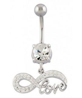 Bauchnabelpiercing mit Brass-Design UNENDLICHKEIT + LOVE Kristallklar Messing - versilbert Piercing 13,99€