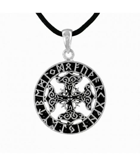 Anhänger Kreuz mit Runen F-U-TH-A-R-K Bronze versilbert Ø 3,3 cm Magic&Mystik&Metal 13,99€