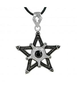 Edelstahlschmuck Anhänger Pentagramm Edelstahl mit schwarzem Zirkonia Ø 4,0 cm Magic&Mystik&Metal 16,99€