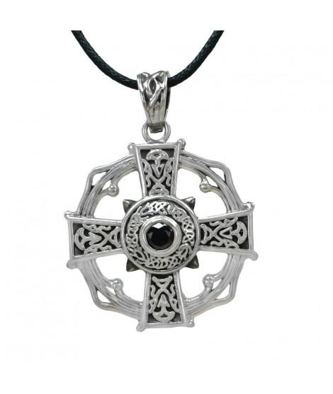 Edelstahlschmuck Anhänger Keltisches Kreuz Edelstahl mit schwarzem Zirkonia ca. 3,4 cm Magic&Mystik&Metal 20,99€