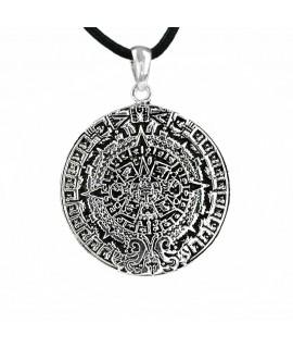 Anhänger Aztekenkalender Bronze versilbert Ø 4,3 cm Magic&Mystik&Metal 18,99€