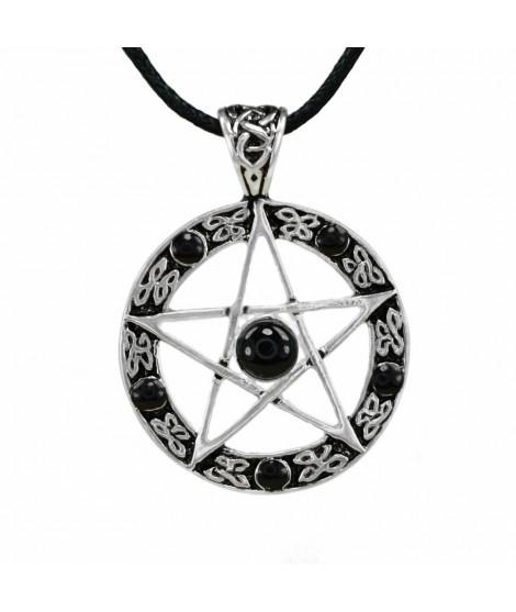 Pentagramm Bronze versilbert mit 6 Onyx Steine Größe: Ø 3,0 cm Magic&Mystik&Metal 16,99€