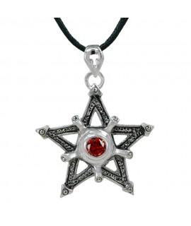 Edelstahlschmuck Pentagramm Edelstahl mit rotem Zirkonia Größe: Ø 4,0 cm Magic&Mystik&Metal 16,99€