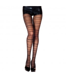 Gestreifte Panty - Schwarz One Size Elastan Mode 9,99€