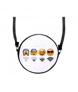 """Runde Motiv-Handtasche """"WiFi s"""" mit Trageriemen ca. 17 cm 100% Polyester Mode 9,99€"""