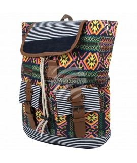 Rucksack schwarz Multicolor Aztekenmuster ca.40cm x 34cm 100% Polyester Mode 26,99€
