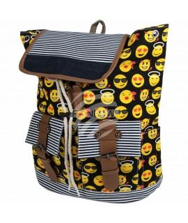 Rucksack schwarz gelb Emoticons ca. 40 cm x 34 cm 100% Polyester Mode 26,99€