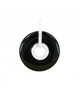 """Silberschmuck Edelsteinanhänger aus Onyx """"Donut"""" mit Kristallen 925 Sterlingsilber Halsschmuck 11,99€ -25%"""