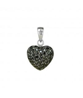 Silberschmuck Anhänger Herz schwarz 925 Sterlingsilber Halsschmuck 26,99€