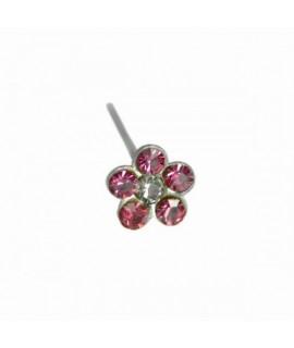 Nasenstecker Blume 3,8mm rot Stift 7mm 925 Silber Piercing 2,99€