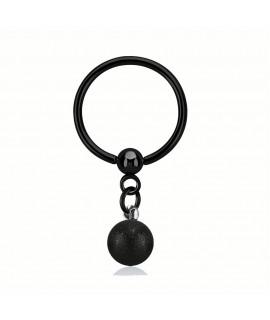 Klemmring schwarz 12mm mit Kugel 6mm diamantiert Gesamtlänge 25mm 316L Edelstahl Piercing 3,99€