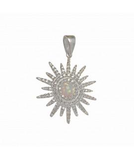Silberschmuck Sonne mit Zirkonia ca. 29 mm im Zentrum ein Opal ca. 6 mm Halsschmuck 56,99€