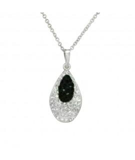 Collier Edelstahlschmuck, Glassteine kristall-schwarz, dünne Kette 39 cm lang + 4 cm Verlängerung ca. 20 mm Halsschmuck 19,49...