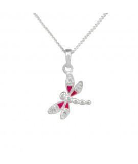 Collier 925/- echter Silberschmuck, Libelle rosa 38 cm mit Zirkonia ca.12 mm Halsschmuck 19,49€ -25%