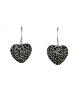 Silberschmuck Ohrhänger Herz schwarz 925 Sterlingsilber Ohrschmuck 43,99€