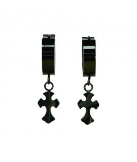 Edelstahlschmuck Creole mit Kreuz schwarz beschichtet Magic&Mystik&Metal 11,99€