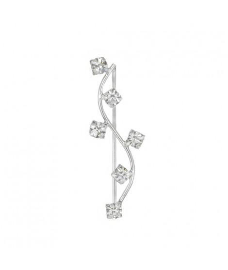 Silberschmuck Designer-Ohrring ''Crystal Line'' Silber mit 6 weißen Zirkonia rechte Seite ca. 2,5 cm Ohrschmuck 7,99€