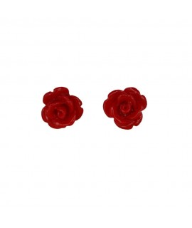 Silberschmuck Ohrstecker ''Red Rose'' 925 Sterling-Silber mit Polyresin Ø ca. 1 cm Ohrschmuck 8,99€