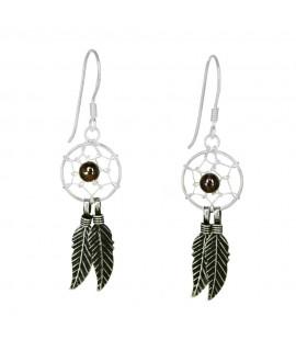 Silberschmuck Ohrhänger ''Traumfänger'' 925 Sterling-Silber, Granat Höhe: 3,0cm Ohrschmuck 13,99€
